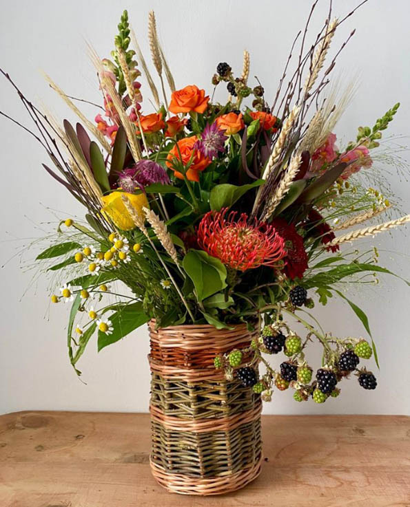 Floral Arrangement in a Willow Vase